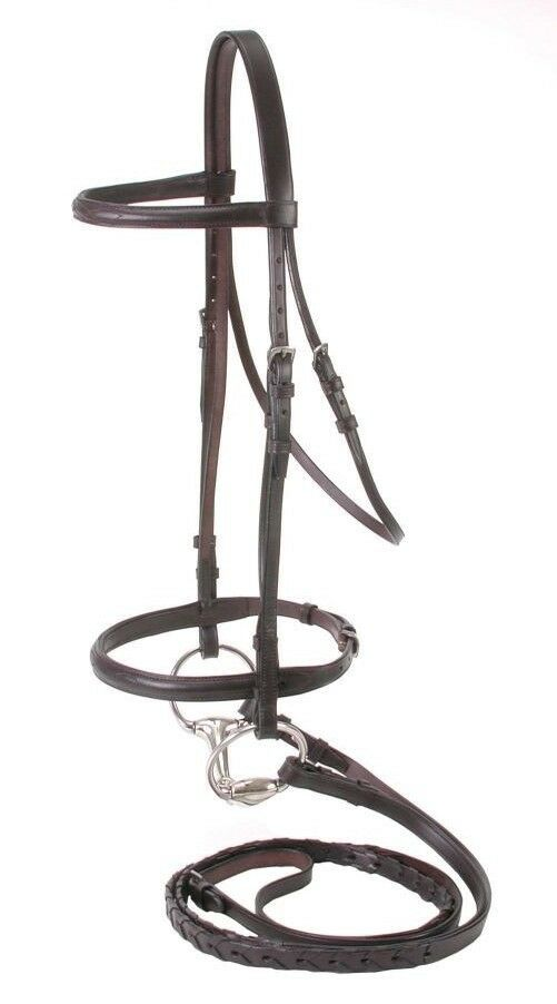English Bridle and Reins - Premium Raised Leather - Cob Size - Havana Brown