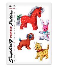Horse Pony Bunny Rabbit Dog Cat Stuffed Animal Toy 4915 Sewing Pattern Simplicit
