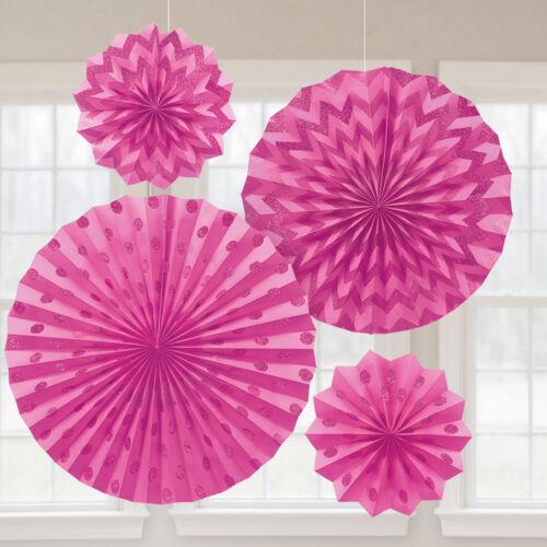 4 Party Fächer Fans bright pink glitzernd Raum Deko Dekoration Party Feier Feste