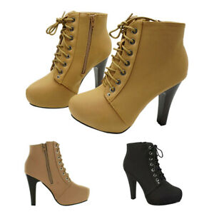 Women-039-s-Platform-Ankle-Boots-Round-Toe-Lace-Up-High-Heel-Stiletto-Party-Shoes