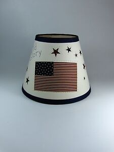 Country Primitive Americana Barn Star Flag Fabric Lampshade Lamp Shade