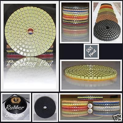 """5/"""" DIAMOND POLISHING PADS Wet 16+1 Pcs Stone Glass SET"""
