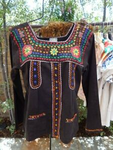 VINTAGE-80-039-s-INDIA-TOP-Thick-Black-Gauze-Embroidered-Folk-Art-Blouse-Mint-Cond