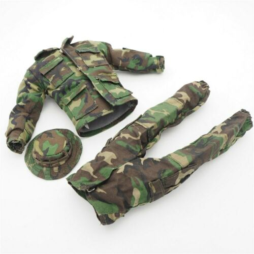 """1//6 Scale Military Clothes Woodland Camo Soldier 12/"""" Action Figure Accessories"""