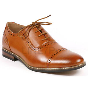 Parrazo Men S Perforated Lace Up Cap Toe Oxford Dress Shoes