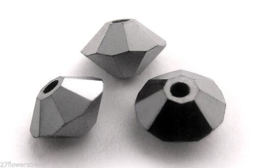 36 Czech MC Spacer Beads Jet Hematite Full 3x5mm Squished Diamond shape 5305