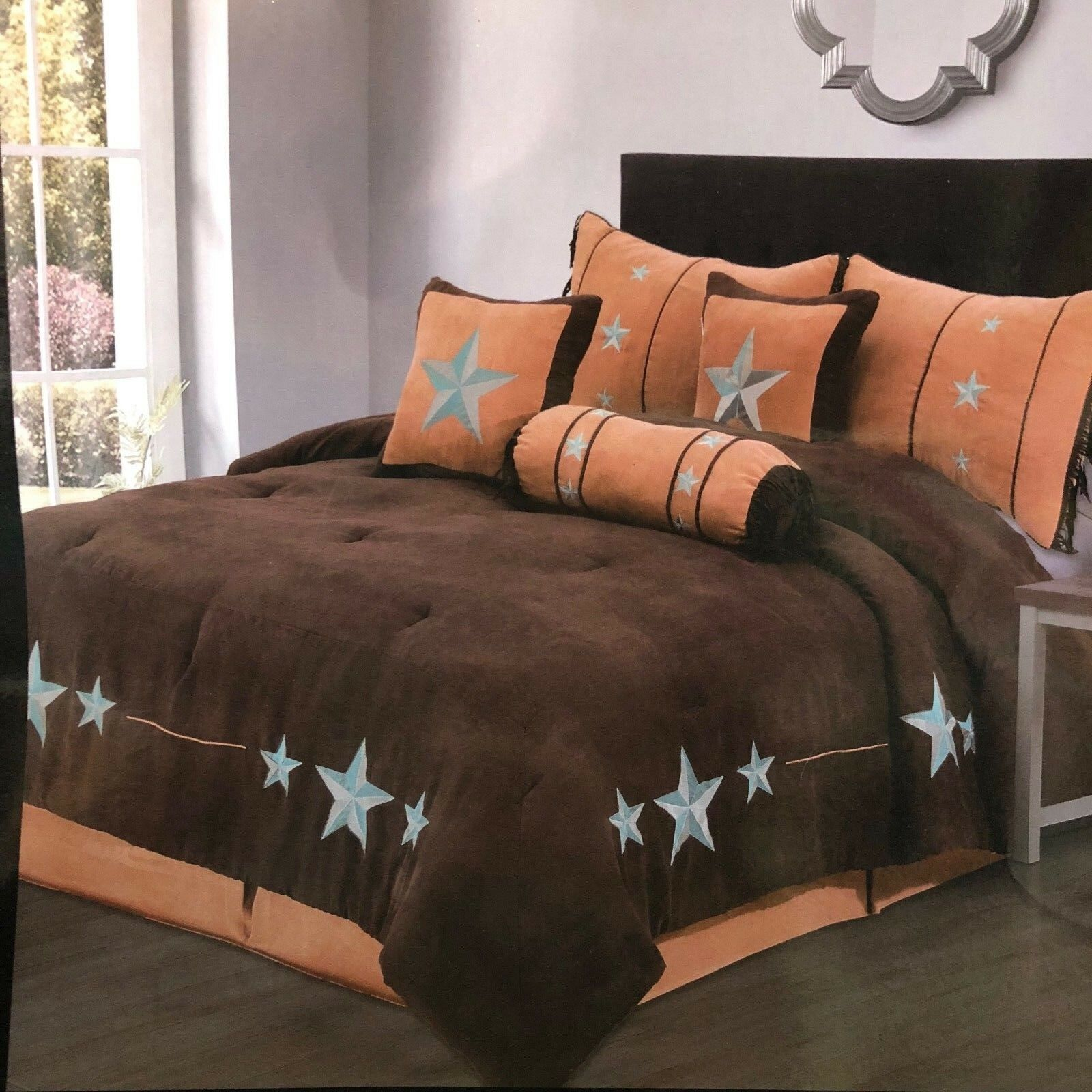Rustic braun Western Turquoise Star Comforter - 7 Piece Set