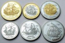 BASSAS DA INDIA - FRENCH 6 COINS SET 2012 10 - 500 FRANCS SAILING SHIP BIMETAL