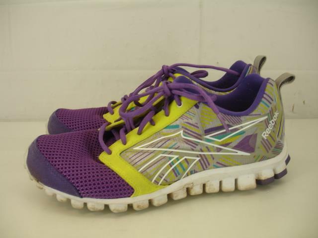 Womens sz 9.5 M Reebok Realflex Scream 2.0 Purple Yellow Running Walking shoes