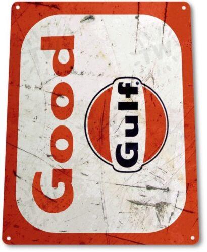 Gulf Good Gas Motor Oil Garage Service Retro Wall Decor Large Metal Tin Sign