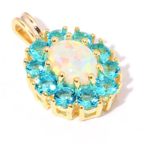 GORGEOUS GOLD PLATED WHITE  FIRE OPAL//AQUAMARINE PENDANT