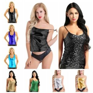 Para-Mujeres-Metalico-Brillante-Camiseta-sin-mangas-Chaleco-Blusa-entallada-blusa-camisa-sin-mangas