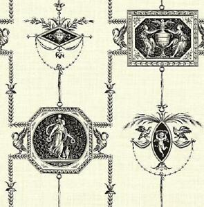 Wallpaper-Designer-Black-French-Toile-on-Cream-Faux-Birds-Cherubs-Angels