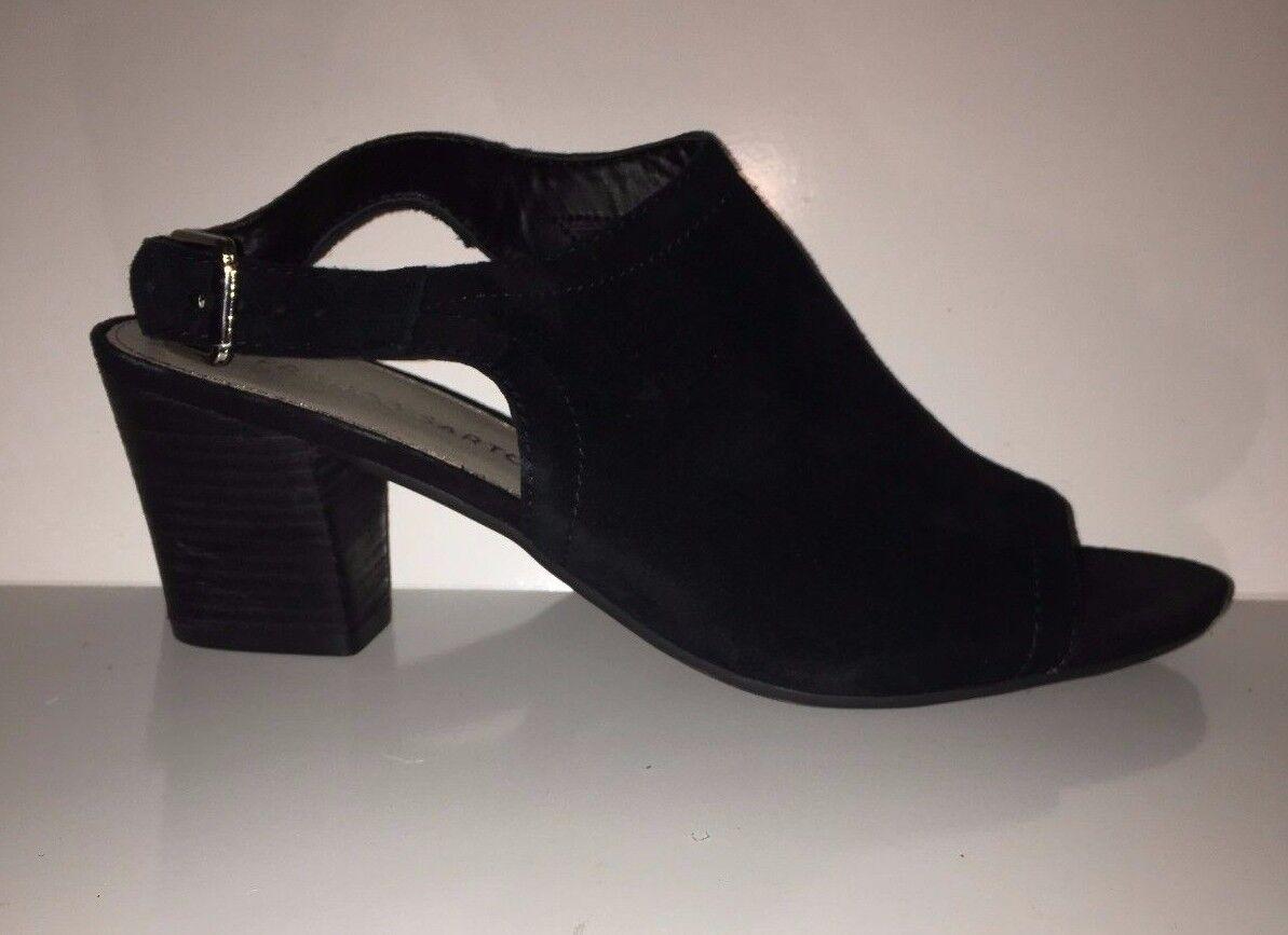 109 NEW  Franco Sarto Monaco Nubuck Heel Peep-toe nero Sandles scarpe Sz 8M