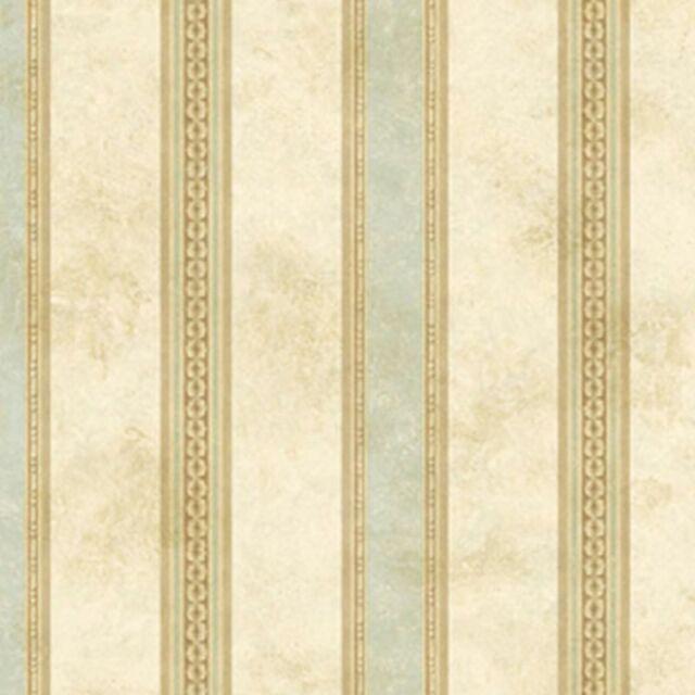 Dollhouse Wallpaper Medallion Navy Stripe NO BORDER