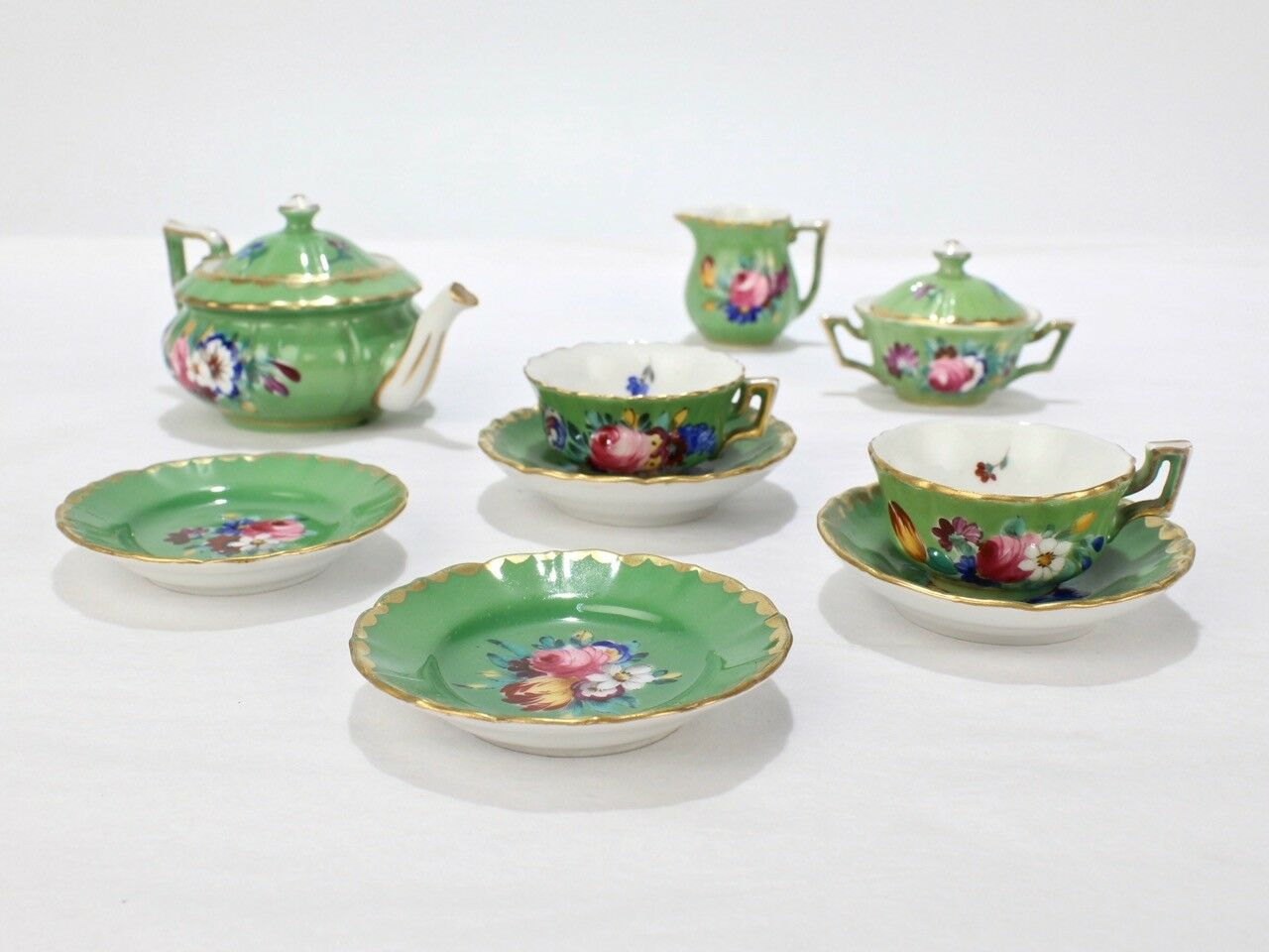 Antique Derby Porcelain Miniature Doll House Tea Set - English Miniature PC