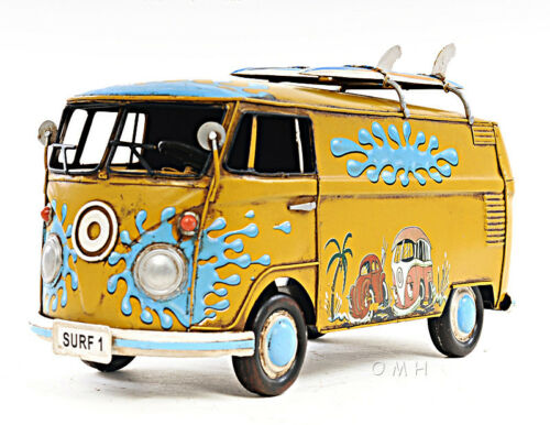 "1967 Volkswagen VW Bus Tin Metal Car Model 12/"" with Surf Boards Automotive Decor"