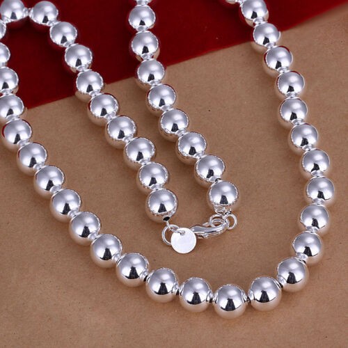 Wholesale 925 Sterling Silver 10 mm grand même Bouddha Perles Collier B Set S082B