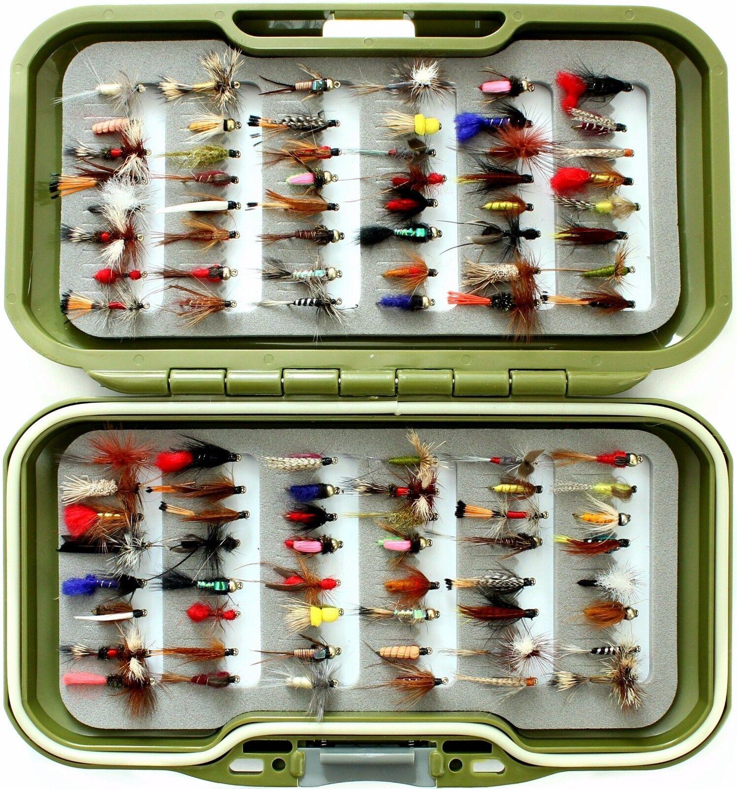 Fly scatola Set, Trossoe Mosche, Regno Unito, si asciuga, PISCIA, NINFA Cicalini, pesca a mosca