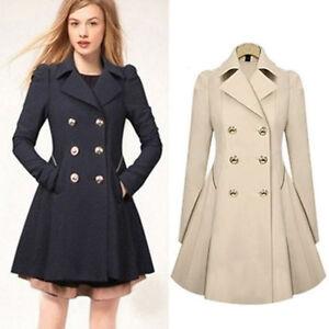 mode damen bund kn pfe lang mantel kleid jacke outwearlinie winter blazer coat ebay. Black Bedroom Furniture Sets. Home Design Ideas