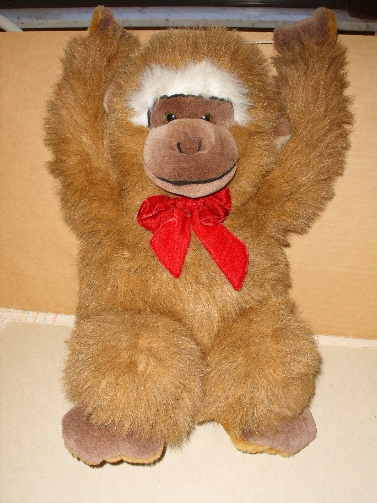 Goffa International Hanging Fuzzy Brown Gorilla Monkey Plush 17'' Red Bow