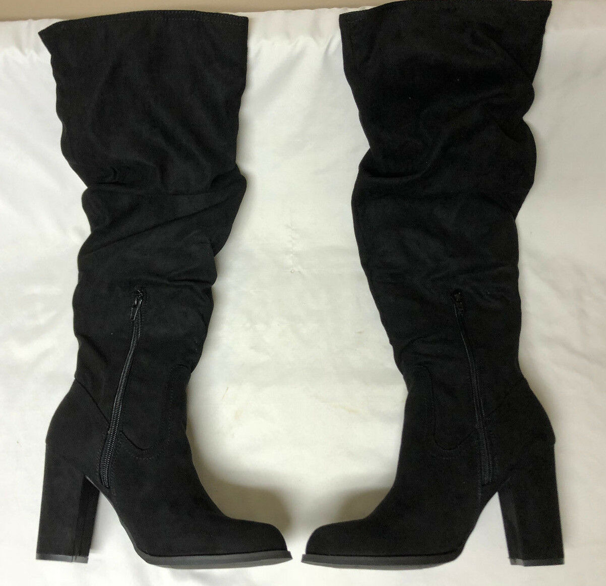 e459250d618 Madden Girl Cinder Knee-high Slouch BOOTS 865 Black Fabric 7 US
