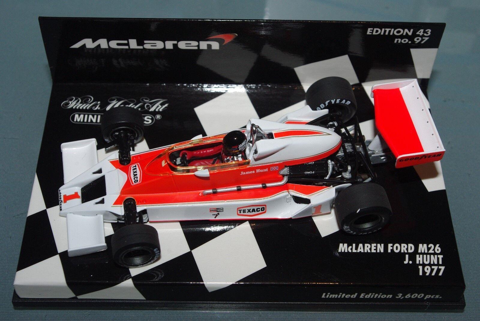 punto de venta barato Minichamps 1 43 F1 F1 F1 McLaren Ford M26-James Hunt 1977-Edición Limitada 3600 un.  edición limitada