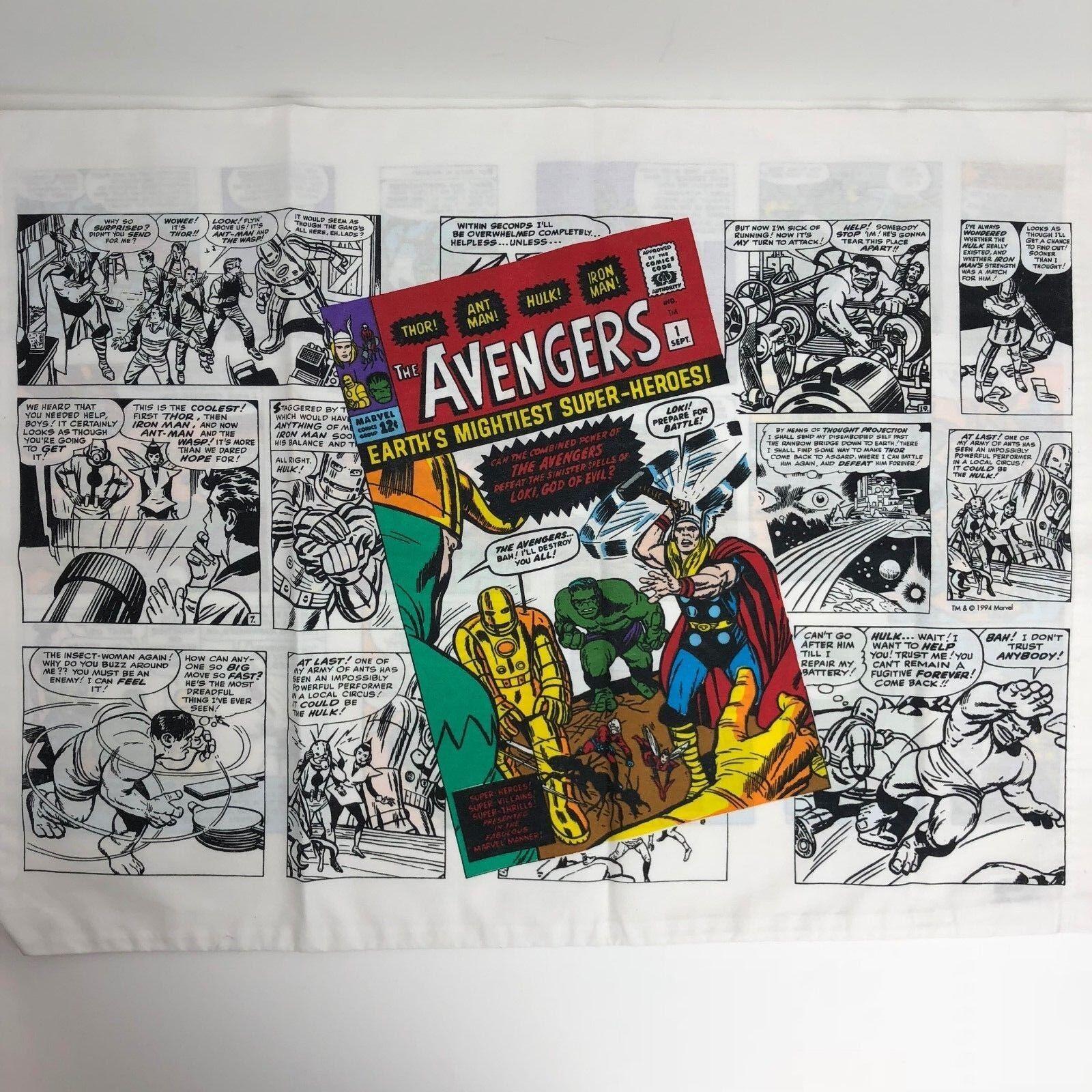 (1) Vintage Marvel Avengers Comic Book color Pillowcase - Thor, Hulk, & More