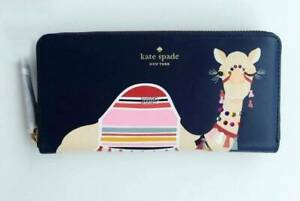 NWT-KATE-SPADE-SPICE-THINGS-UP-CAMEL-NEDA-CONTINENTAL-ZIP-WALLET-NAVY-MULTI