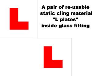 2 X Placas L legales del Reino Unido Auto Adhesivo Reutilizable estática dentro de montaje de vidrio