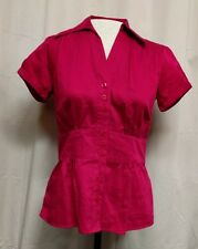 ANN TAYLOR Womens Size 2 Short Sleeve Peplum Blouse Shirt Button Front Top Pink