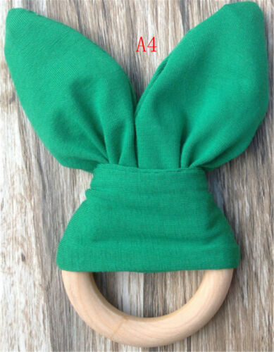 Safety Wooden Natural Baby Rabbit Teething Ring Teether Bunny  Babies Teethe LUV