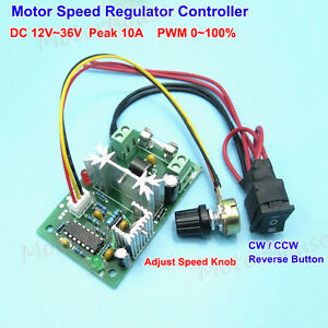 DC 12-36V 10A PWM DC Motor Speed Regulator Controller CW CCW Reversible Switch