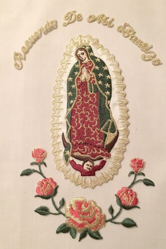 Virgin Mary Guadalupe Baptism Christening Embroidered Iron On Gold Silver Patch