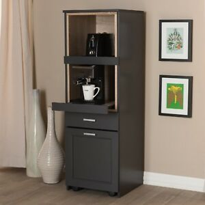 Tall Narrow Kitchen Cabinet Cupboard Coffee Nook Pull Out Drawers