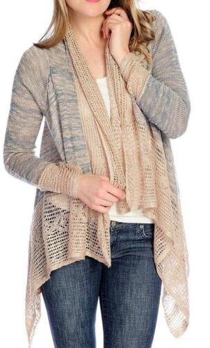 1X S One World Heathered Knit Open Front Cascade Cardigan NEW Sz M XL L