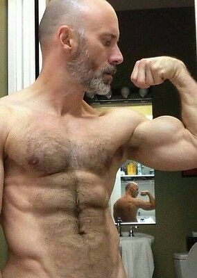 Shirtless Male Muscular Athletic Build Beard Handsome
