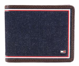 Tommy-Hilfiger-Men-039-s-Leather-Wallet-Passcase-Billfold-Rfid-Brown-31TL220103