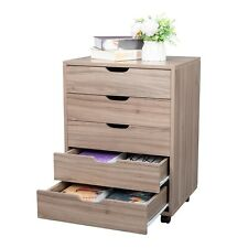 5 Drawers Mobile File Cabinet Office Storage Cabinet Rolling File Cabinet