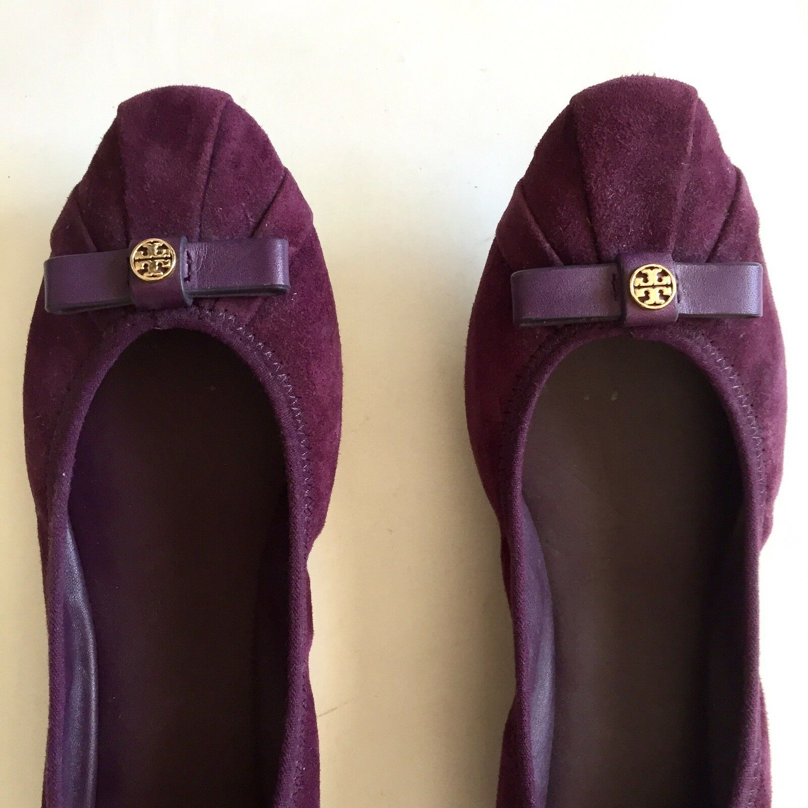 Tory Burch Womens Purple Suede Suede Suede Leather Bow Ballet Flats shoes Size 7M Pleated faac13