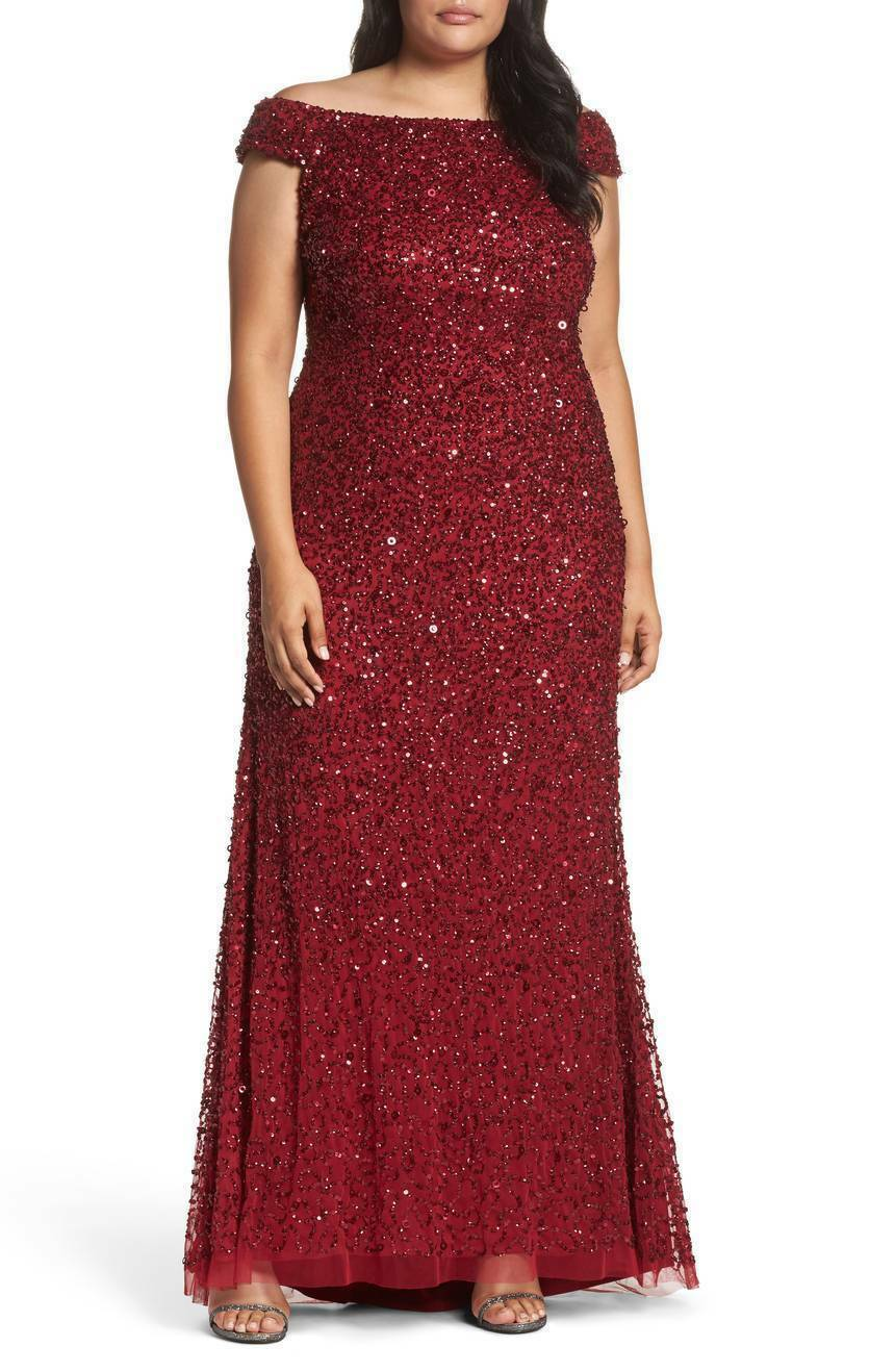 ADRIANNA PAPELL OFF THE SHOULDER SEQUIN BEADED CRANBERRY rot GOWN DRESS sz 20W