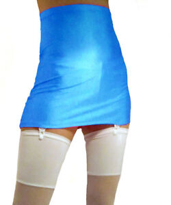 HIGH WAISTED SUSPENDER SKIRT GIRDLE STYLE ROYAL BLUE BLACK SPANDEX S M L XL XXL