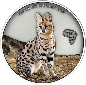 Ghana-5-Cedis-2019-Serval-Silver-Ounce-Antique-Finish-Luchs-in-Farbe