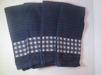 Kitchen Towels Set Of 4 - 100% Cotton - Dark Blue Color - Size 14 X 25