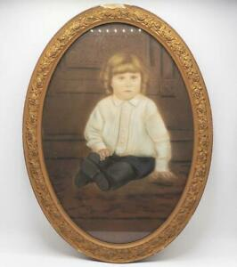Antique Vintage Picture Frame Glass Oval Frame w/ Drawing Painting of Child Girl