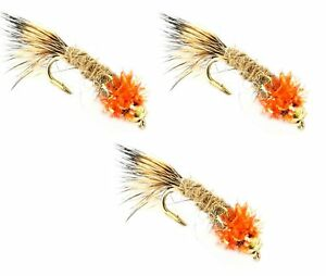 BARBLESS Trout Flies Hook 10 12 14 x 3 flies For fly fishing UK RED TOP Barbed