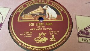 Details about GERVASE ELWES ICH LIEBE DICH & MORNING HYMN HMV B322