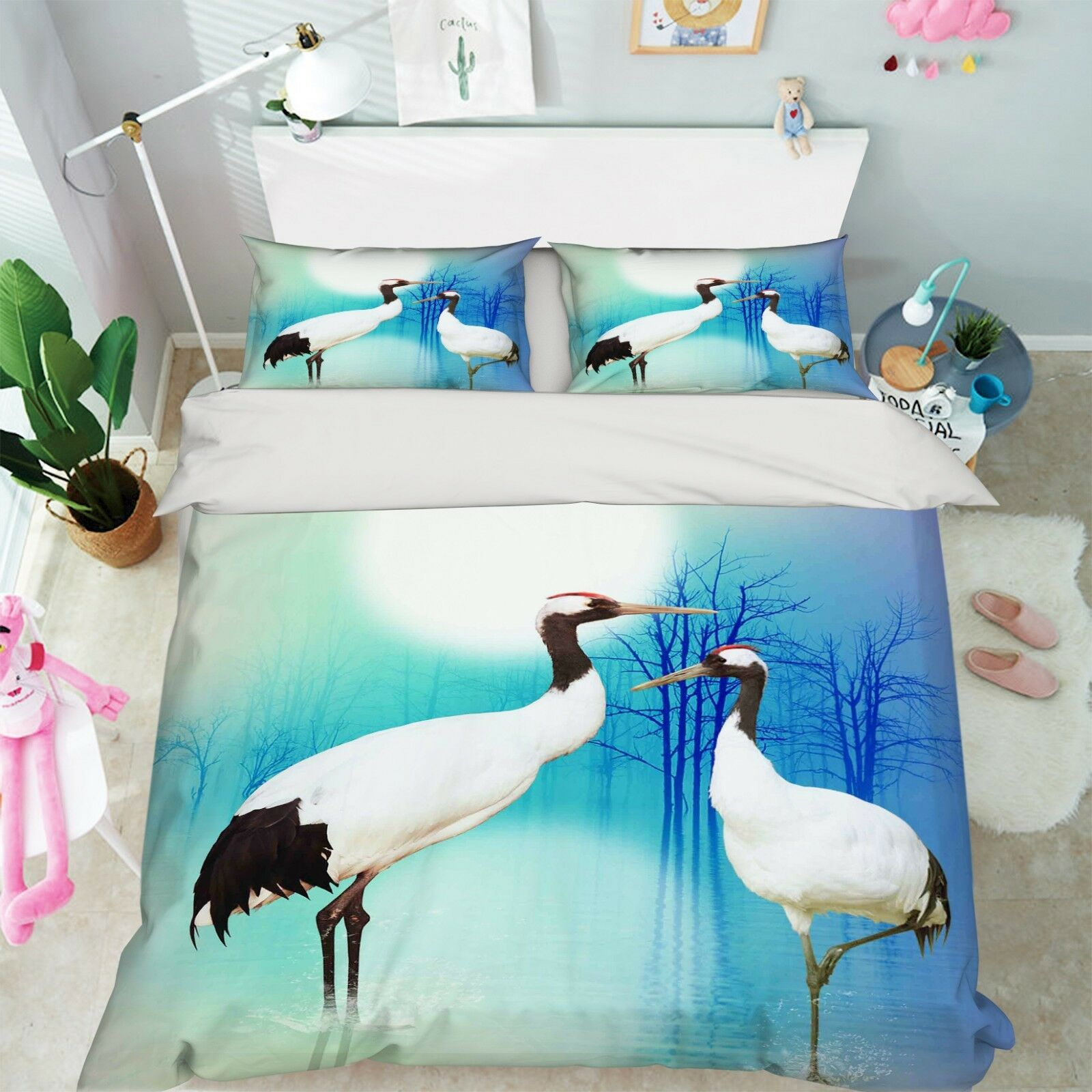 3D Moon Heron 76 Bed Pillowcases Quilt Duvet Cover Set Single King UK Summer