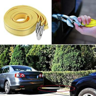 Rockyin 4 Meter Load 5 Ton Car Trailer Towing Rope Strap Tow Cable with Hooks Emergency Vehicle Tool