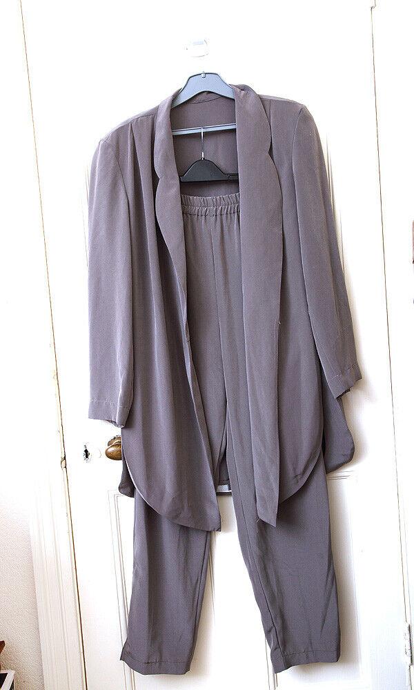 Designer Vintage Grec 70 S Pantalon Costume Set Granite Connexion Oversize Neuf